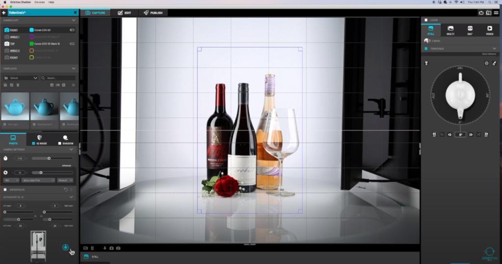 Orbitvu software screen view of photoshoot set-up