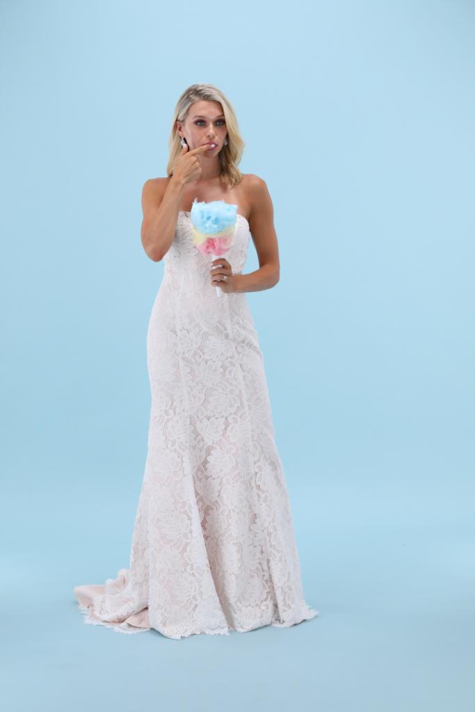 Creative photo of wedding dress for summer wedding using simple prop